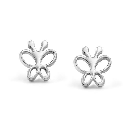 316l Surgical Stainless Steel Butterfly Safety Screwback Baby Girls