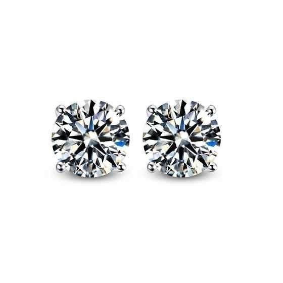 Round Cut Cubic Zirconia Cz Sterling Silver Stud Earrings Women Men Kids Dif Sz