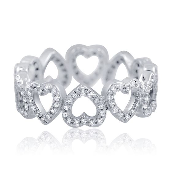Sterling Silver Micro Pave Heart Eternity Cz Wedding Band Cubic Zirconia Ring
