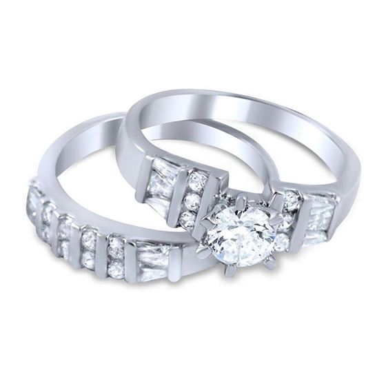 sterling silver baguette round cut cz wedding ring set 3 ctw 2 pc bridal set - Cz Wedding Ring Sets