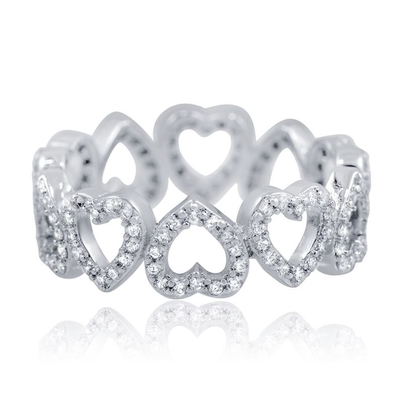 Pascollato Jewelry Sterling Silver Eternity Heart Pave CZ Ring Whit